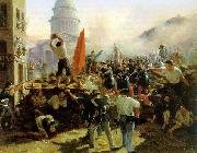 Horace Vernet Painting of a barricade on Rue Soufflot china oil painting reproduction